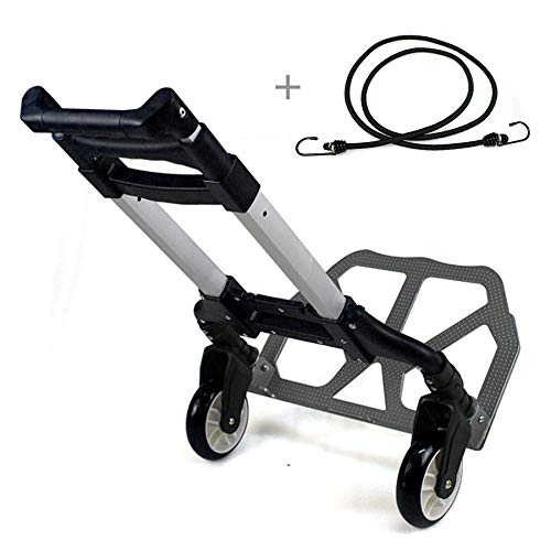 (F2C Folding Aluminium Cart Luggage Trolley 170 lbs Capacity Hand Truck with Black Bungee Cord Included (Black))