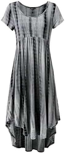 Prime Hot JayJay Women Boho High Low Casual Maxi U-Neck Short Sleeve Tie Dye Print Long Dress With Pocket