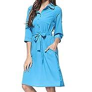 YFancy Women Summer Dresses with Pocket Solid Slim Shirt Cropped Short Sleeve Casual Lepel Button Belt Knee Length Dress