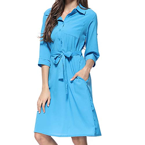 Mikilon Women's 3/4 Sleeve Lapel Collar Button Up Belted Casual Work Midi Dress with Pockets Sky Blue ()