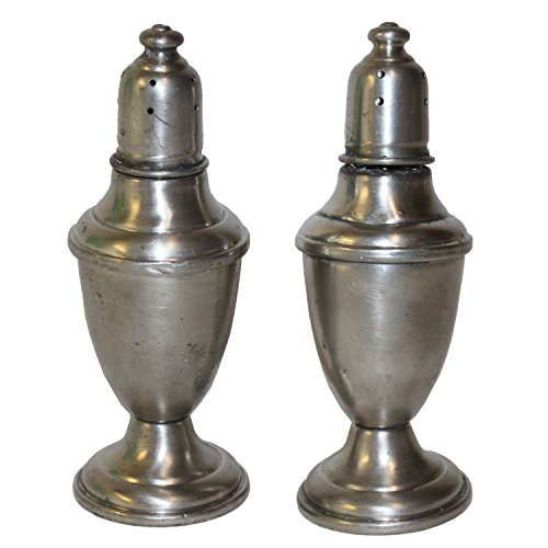 Exquisite Vintage Pewter Weighted Salt And Pepper Shakers (Shakers Pepper Antique Salt Pewter And)