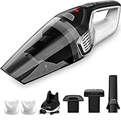 Featuring stylish design and powerful suction, Homasy handheld Portable Vacuum is a versatile helper that quickly tackles mess and dirtiness at home and in car. Save you time and efforts!   Keep Ready for Clean-up Quick charge technology eff...