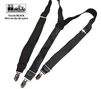 "Hold-Ups Tuxedo Black 1"" Wide Suspenders in Y-back with No-Slip Nickel Clips"