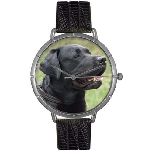 Whimsical Unisex Jewelry (Whimsical Gifts T-0130082 Black-Labrador Retriever Photo Watch In Silver)