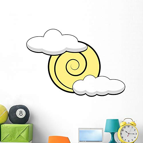Wallmonkeys Simplified Sun and Clouds Wall Decal Peel and Stick Graphic (48 in W x 41 in H) WM502762