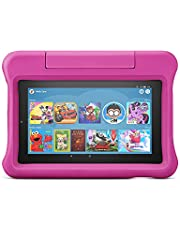 """Fire 7 Kids Tablet, 7"""" display, ages 3-7, with 2-year warranty, thousands of apps, games, books and more included for 1 year, and Kid-Proof Case – Pink"""