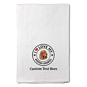Custom Decor Flour Kitchen Towels I Love My Sussex Spaniel Dog Style A Pets Dogs Cleaning Supplies Dish Towels Design Only 40