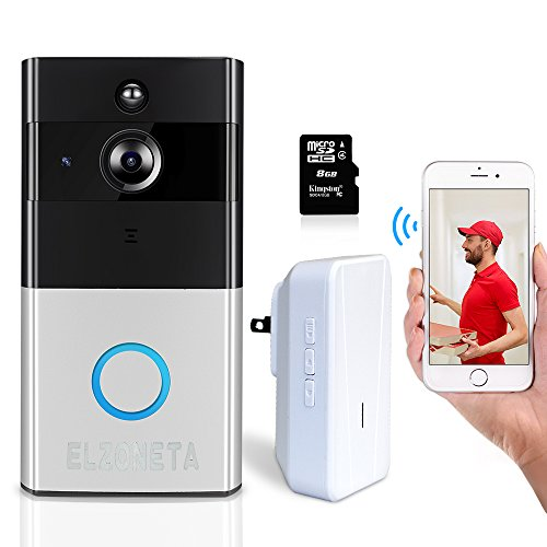 Elzoneta Video Doorbell Wireless Camera - 720P Wifi Doorbell Built-in 8G Card with Door Chime, 166 Wide Angle, IP55, Night Vision, PIR Motion Detection, Real-Time Video and Two-Way Audio