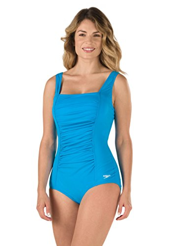 Speedo Women's Endurance+ Shirred Tank One Piece Swimsuit, Blue Sky, 8 (Shirred Tank Swimsuit)