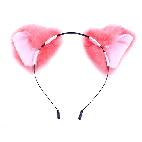 MEXUD Orecchiette Party's Cat Fox Long Fur Ears Anime Neko Costume Hair Clip For Cosplay (Pink)