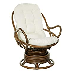 Living Room Office Star Kauai Rattan Swivel Rocker Chair with Brown Frame, Linen Fabric