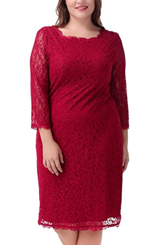 Nemidor Women's 3/4 Sleeves Plus Size Cocktail Party Midi Lace Dress (20W, Wine Red) (Venus Dress Special Occasion)