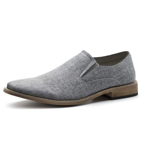 Men's Causal Canvas Oxfords Loafer Dress Slip-On Shoe (Grey 10) (Shoes Canvas Casual Slip)