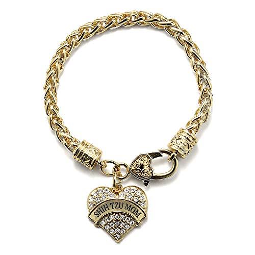 Shih Tzu Bracelets - Inspired Silver - Shih Tzu Mom Braided Bracelet for Women - Gold Pave Heart Charm Bracelet with Cubic Zirconia Jewelry