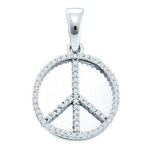 Roy Rose Jewelry Sterling Silver Womens Round Diamond Peace Sign Circle Disc Pendant 1/4-Carat tw - Diamond Peace Pendant