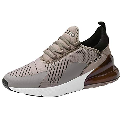 Mysky Fashion Men Leisure Brief Weight Athletic Sport Running Shoes Men Mixed Color Comfortable Flat Sneakers Brown