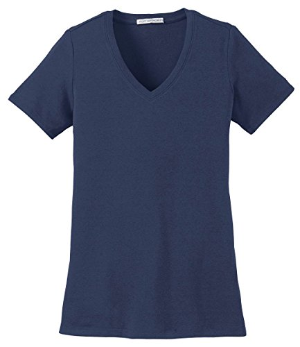 Port Authority Women's Concept Stretch V-Neck Tee_Dress Blue Nvy_Large (V-neck Ladies Tee Port Authority)