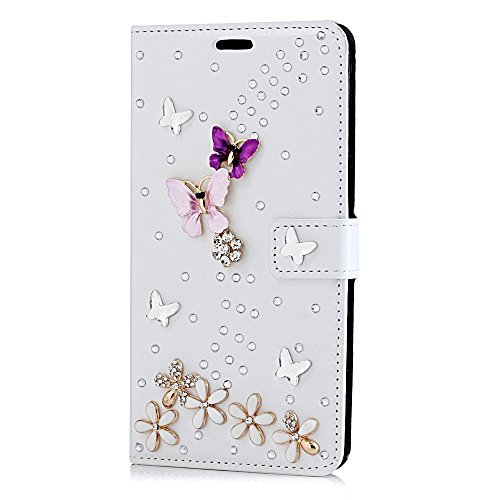 Sense-TE STENES Motorola Google Nexus 6 Case - Luxurious 3D Handmade Sparkle Rhinestone PU Leather Credit Holder Flip Cover Wallet with Retro Bowknot Anti Dust Plug - S-Link Butterfly Flowers/Purple