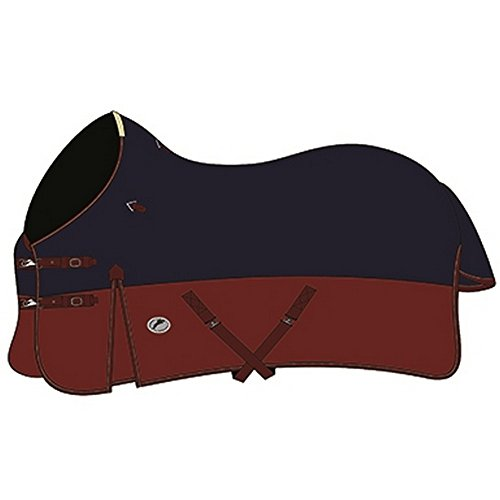 Burgundy 600 Denier Polyester - JHL Medium Weight Turnout Rug (6 ft) (Navy/Burgundy)