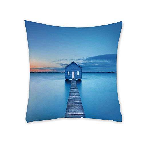 - TecBillion Lake House Decor Soft Square Pillowcase,Sunrise Over Water Lakehouse Cabin Boardwalk Sunlight Clouds Horizon Nature for Living Room Bedroom,17.7