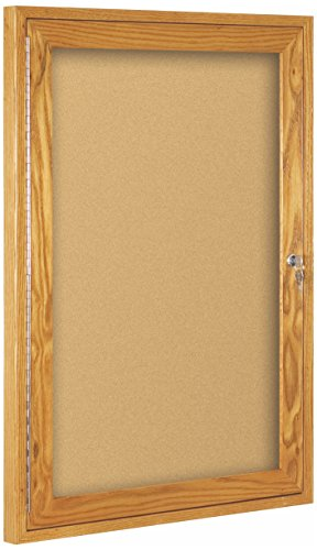 Best-Rite Wood Trim Enclosed Bulletin Board Cabinet, 1 Hinged Door, 24