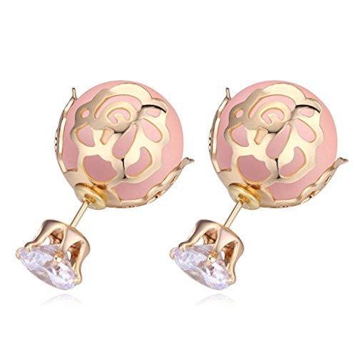 Vintage Pink Pearl Earring AAA Zirconic Stud - Pearl Genuine Earrings Pink Bracelet
