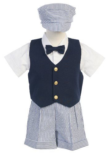 (# 9-G821N- M -Seersucker Outfit w/Navy Vest- Blue Stripe Shorts and Hat - Shirt and Tie - Made in USA)