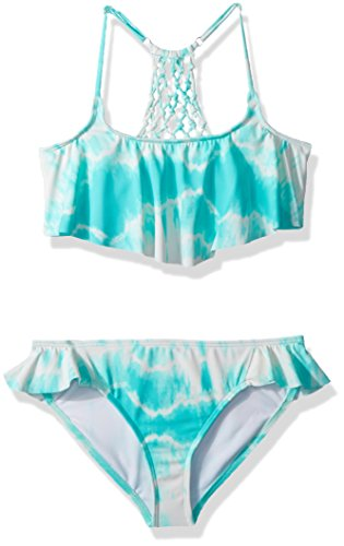 Billabong Girls' Big Peace 4 U Flutter Bikini Swim Set, Beach Glass, 10