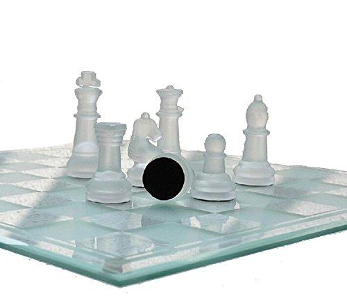 チェス セット クリスタル 透明 クリア 白色 フロスト 駒 ガラス製 25cmx25cm