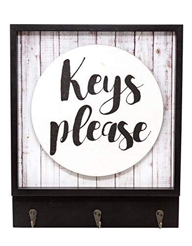Plaque Key - Boston Warehouse Wall Plaque with Hanging Hooks Keys Please