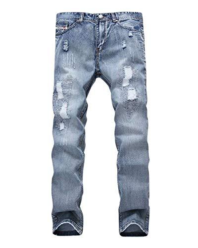 Skinny Con Vintage Uomo Strappate Da Jeans Hellblau Cerniera Strappata Pantaloni Giovane E Denim Buche Strappati twRTqZ