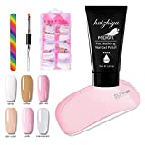 Poly Gel Kit for Nails, French Nail Kit Builder Gel for Quick Nail Extension Starter Kit and Professional Nail Technician French Manicure at Home Salon Nail Polish Set