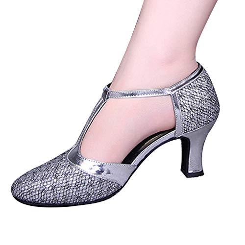 Heel Silver Closed Womens T Ballroom Glitter High Latin Shoes CHENYANG Strap Toe Dance Salsa Tango aqInUUBpW