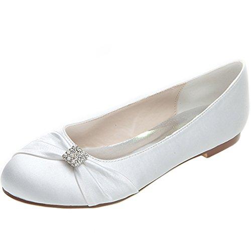Slip Rounded Toe Women's Wedding Flats White Shoes Bridal On Elegant LOSLANDIFEN b Court q6wIdE61