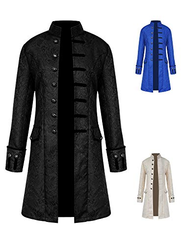 Men Windproof Steampunk Gothic Tailcoat Classic Party Stand Collar Brocade Warm Autumn Sharp Jackets Black L ()