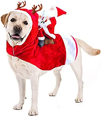Kyerivs Christmas Pet Costume Running Santa Riding on Dog Pet Cat ...