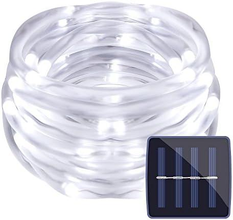 LE LED Solar Lichterkette 5M 50 LEDs, Solarlichterkette mit Lichtsensor Wasserdicht 1,2V Tageslichtweiß, ideal für Außen, Innen, Balkon, Party, Deko usw. Weiß