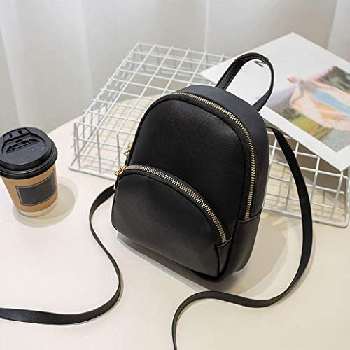 QIUUE Fashion Women Shoulders Small Backpack Letter Purse Mobile Phone Messenger Bag Double Pull Headphone Hole Backpack