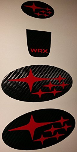 (2015-2018 WRX carbon fiber steering wheel decals center lower front and rear badge set compatible with Subaru (Red))