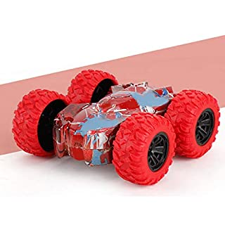 Stunt Car Toy Remote Control Car Double Sided High Speed Lights Off-Road Racing Vehicle Xmas Gift Toy Cars for Girls Boys (Red)