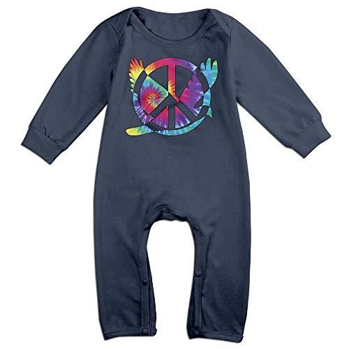 (Mri-le1 Newborn Baby Long Sleeved Coveralls Tie Dye Peace Sign Symbol Kid Pajamas)