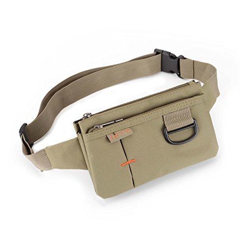 Travel Waist Bag Sporty Fanny Pack Unisex Water Resistant Nylon Sport Bumbag Crossbody Chest Pouch(Khaki)