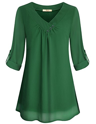 Miusey Cuffed Sleeve Blouse Women's Peach V Neck Woven Baggy Monocolor Shirts Draped Neckline Chiffon Tunic Pleated Front Decorative Button Design Olive Tops Army Green - Blouse Bridal
