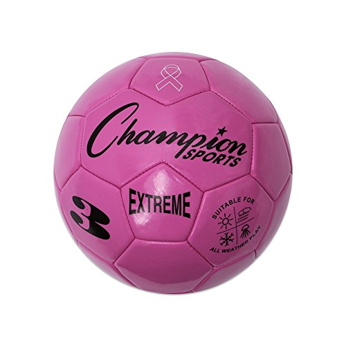 Champion Sports Extreme Series Soccer Ball, Size 3 - Youth League, All Weather, Soft Touch, Maximum Air Retention - Kick Balls for Kids Under 8 - Competitive and Recreational Futbol Games, Pink (Pink Soccer Ball)