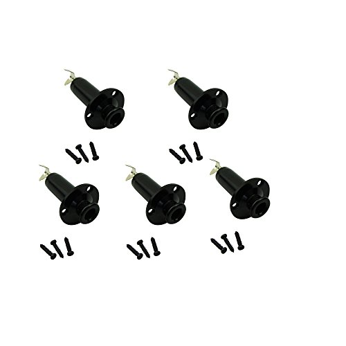 Musiclily Acoustic Electric Guitar Stereo Flush Endpin Cylinder Output End Pin Plugs Strap Button Jack,Black(Pack of 5)