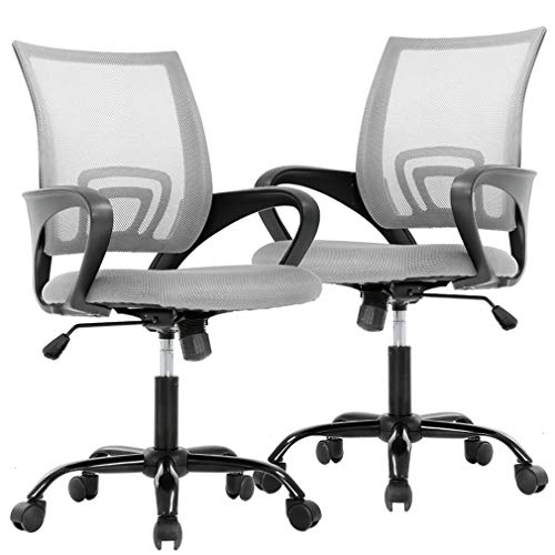 BestOffice Office Desk Computer Ergonomic Executive Swivel Rolling Task Chair for Back Support,2 Pack, Grey