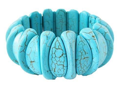 Wilma Flinstone Costumes (Handmade Stretch Turquoise Bracelet Light Blue Howlite Stone Flinstone Costume Jewelry for Women)