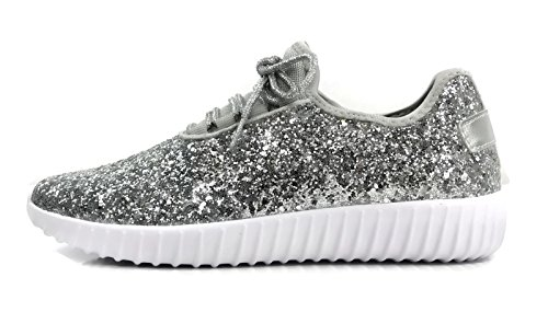 The Collection Jill Womens Athletic Shoes Casual Fashion Breathable Mesh Sneakers Silver Glitter
