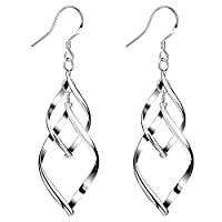 Sterling Silver Dangle Earrings for Women Girls Classic Double Linear Earrings