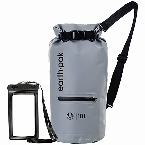 Earth Pak- Waterproof Dry Bag with Front Zippered Pocket Keeps Gear Dry for Kayaking, Beach, Rafting, Boating, Hiking, Camping and Fishing with Waterproof Phone ()